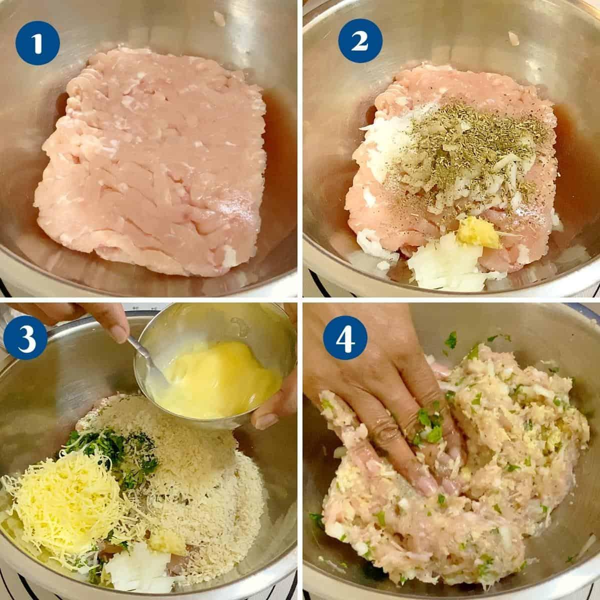 Progress pictures collage for ground chicken patties.