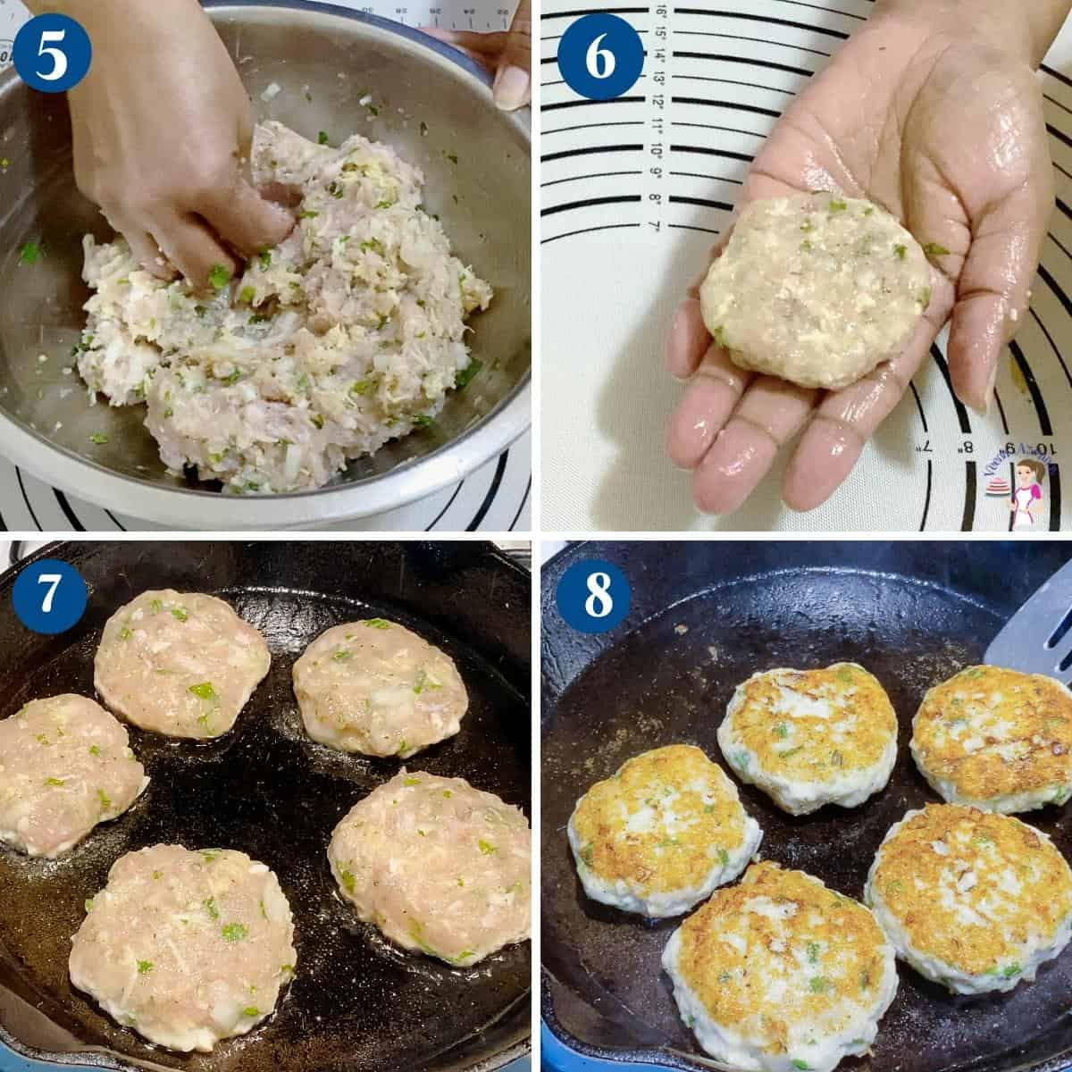 Progress pictures collage for making chicken patties.