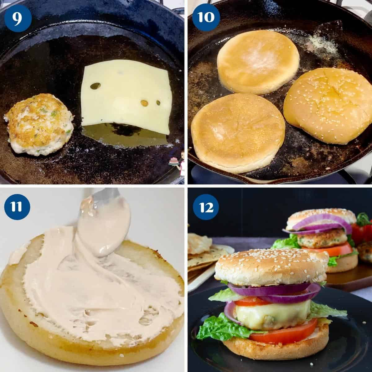 Progress pictures collage for chicken burgers.
