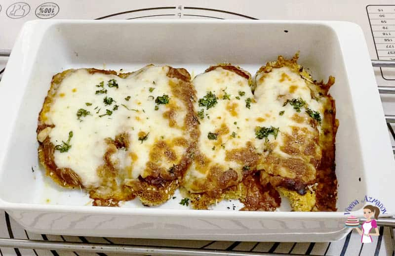 bake the chicken with parmesan until golden and bubbling