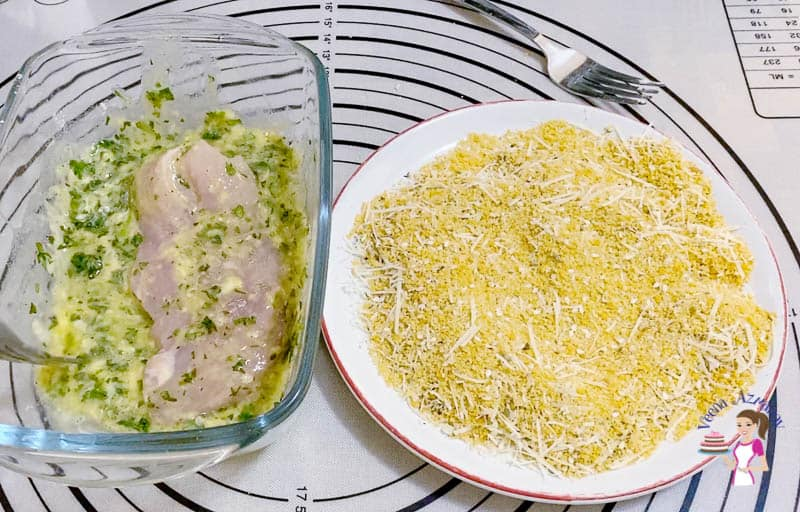 Coat the chicken with egg mixture and breadcrumbs