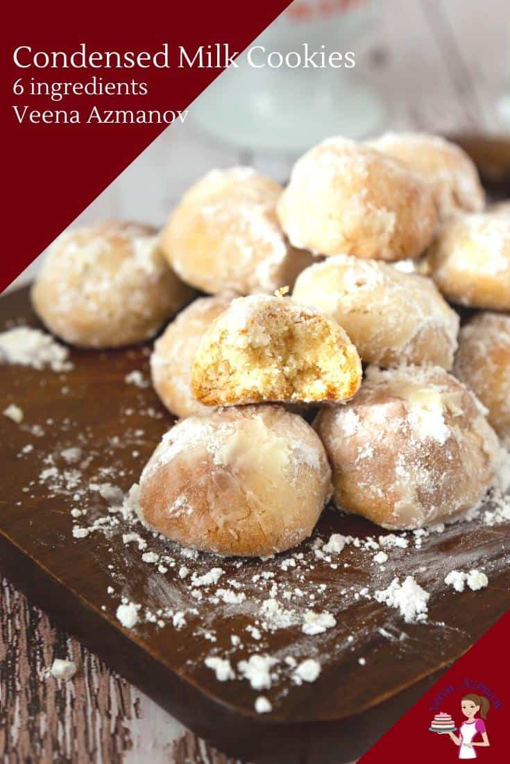 Made with just six ingredients these condensed milk cookies look similar to the Spanish wedding cookies which are coated in powdered sugar. All you need is condensed milk, a few pantry staples, and 5 minutes prep time. #condensedmilk #cookies #cookierecipes #condensedmilkcookies via @Veenaazmanov