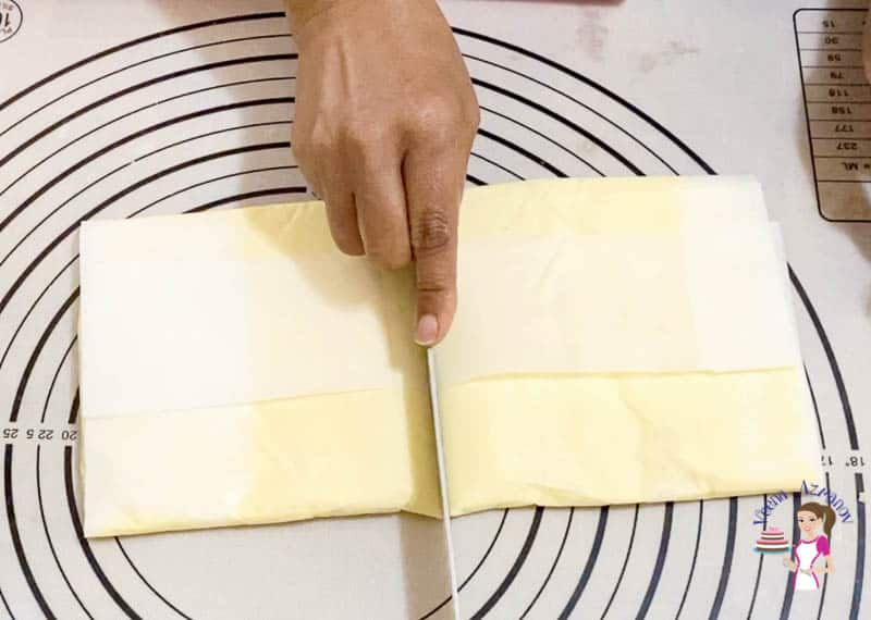 Prepare the butter block for danish pastry dough