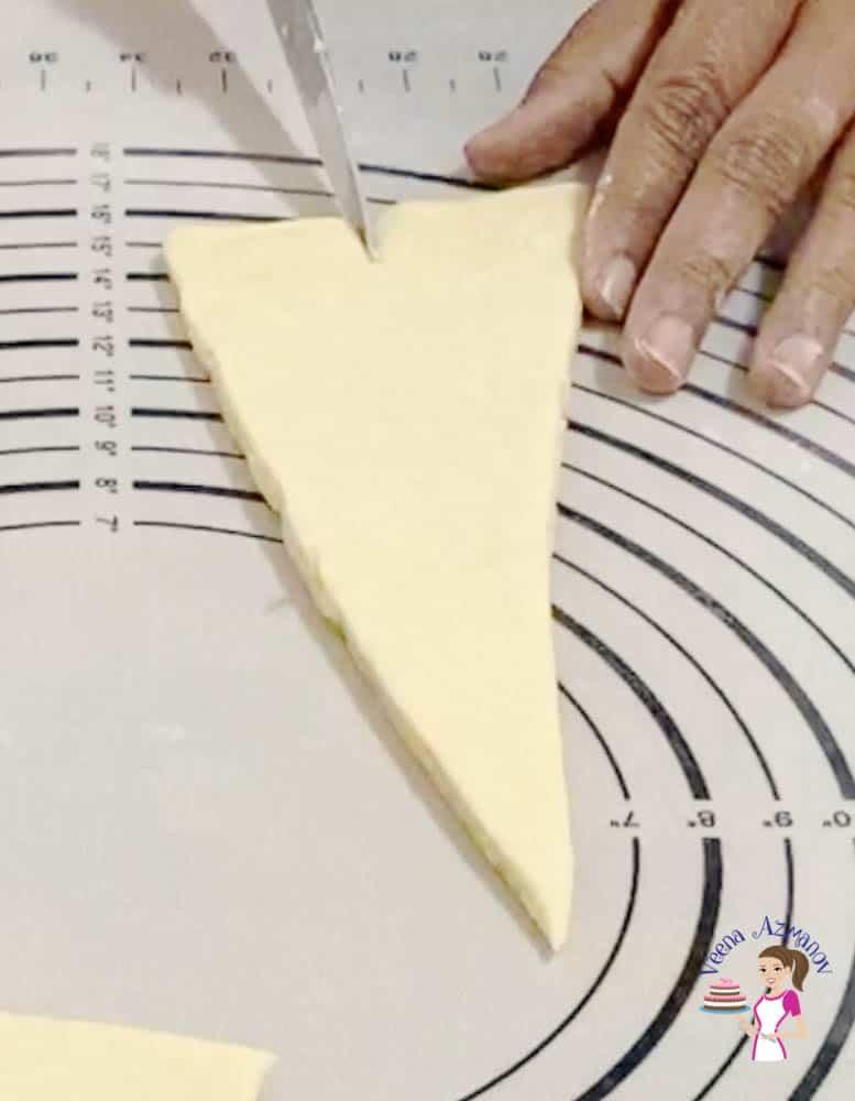 Shape the dough into croissants
