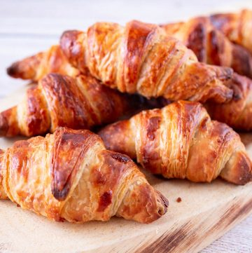 Croissants on a wooden board