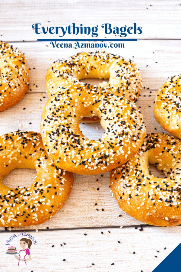 Baked bagels on a wooden table.