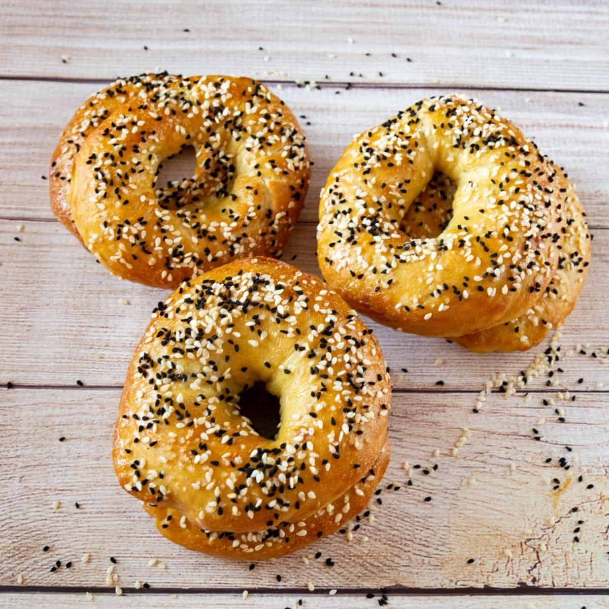 Bagels on a table.