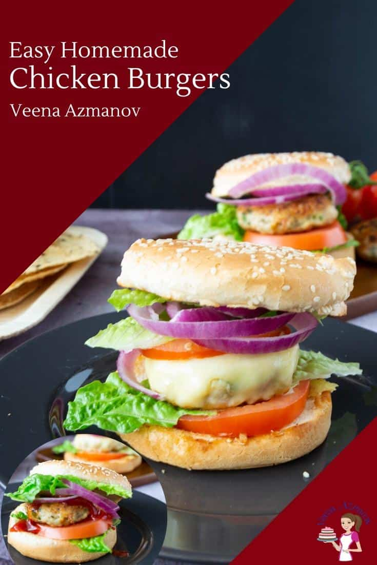 These moist and juicy chicken burgers are perfect to celebrate summer. Whether you fire up the outdoor BBQ or make these indoors in the comfort of your kitchen these are simple and easy to make in less than 20 minutes #chicken #burgers #bestburgers #chickenburgers via @Veenaazmanov