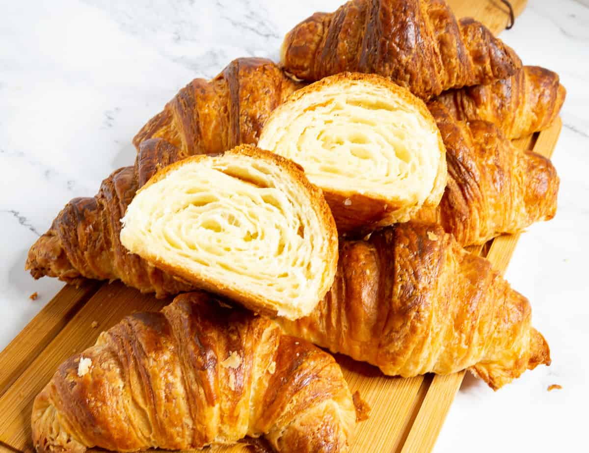 Croissants on a table.