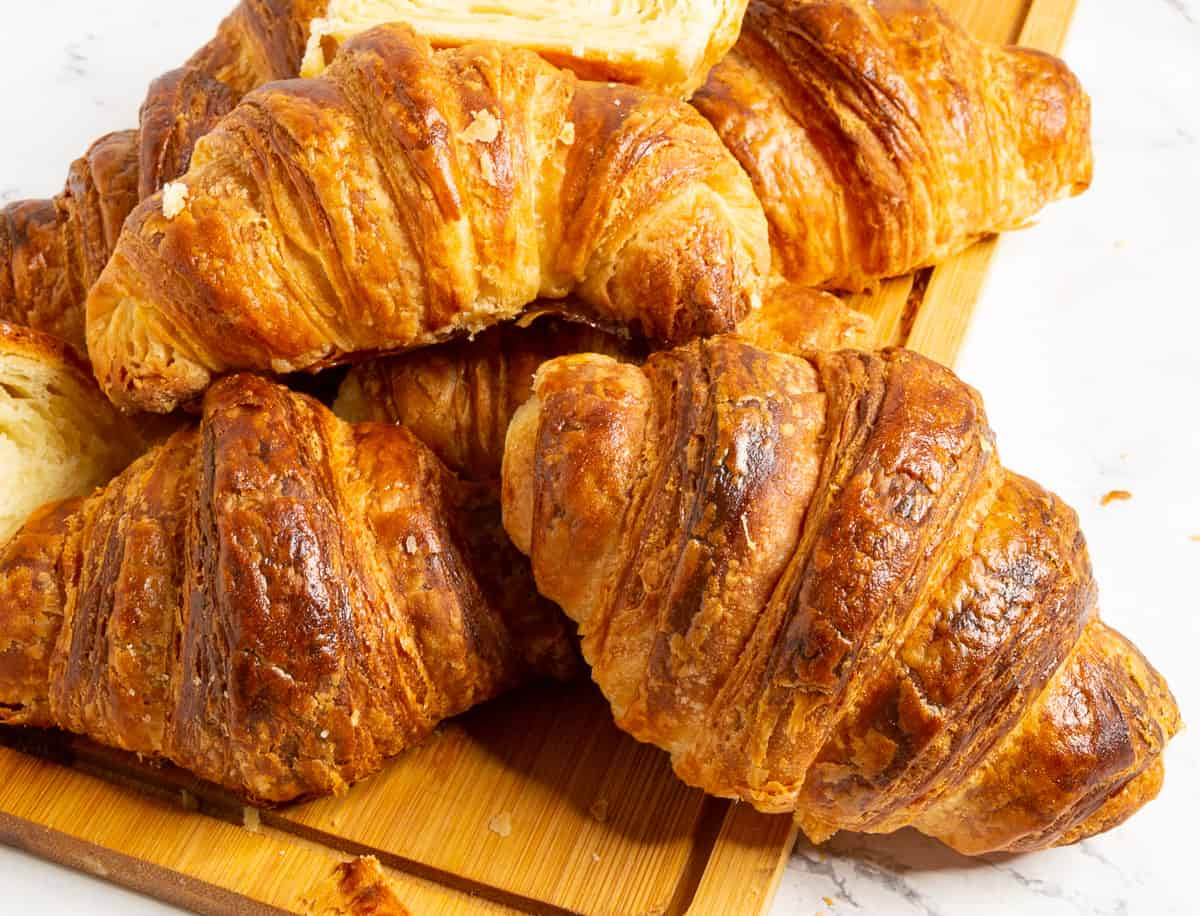 A stack of croissants.