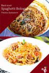 Homemade pasta recipe with bolognese meat sauce and spaghetti pasta