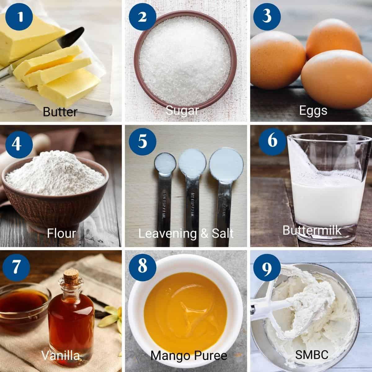 `ingredients shot collage for mango cake.