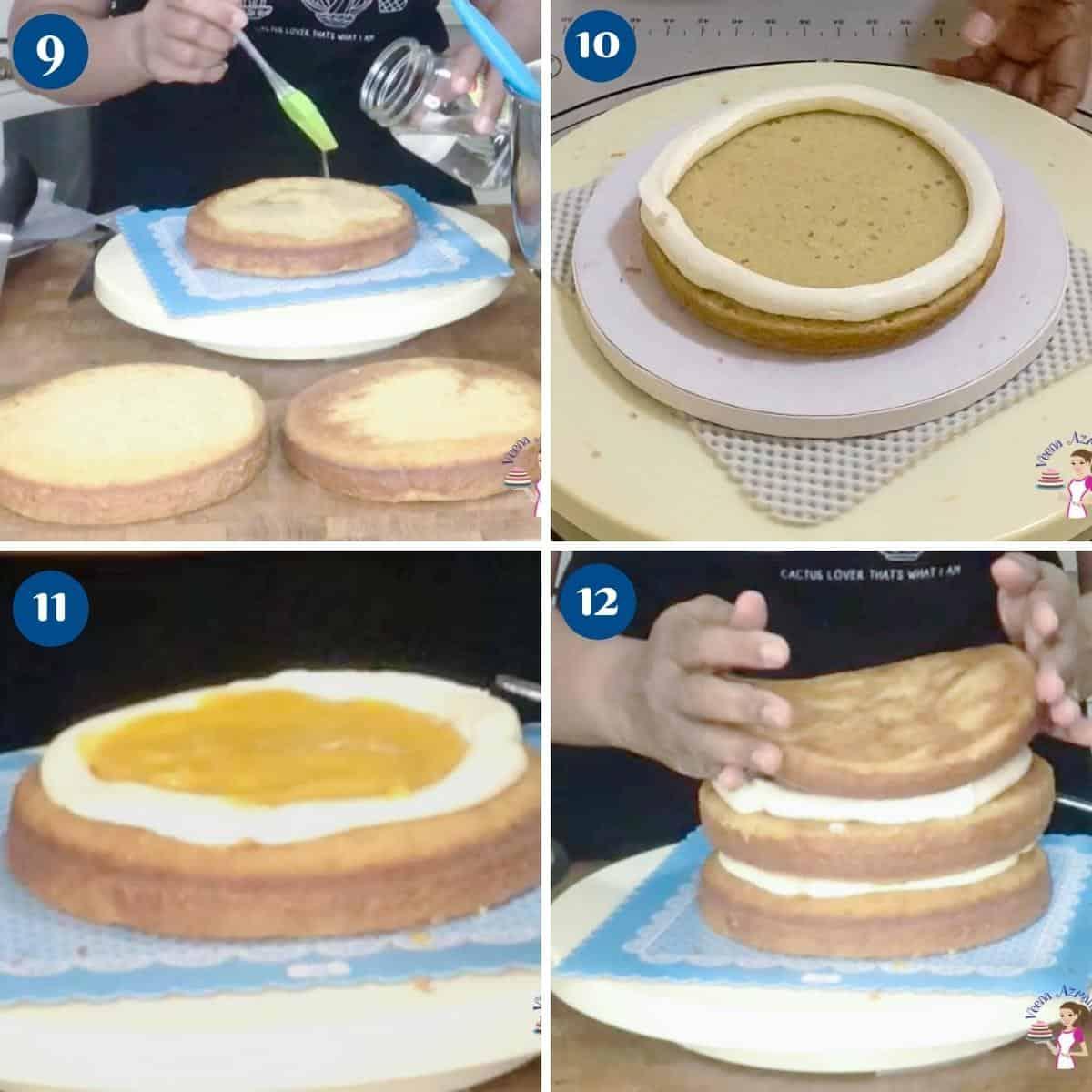 Progress pictures for mango cake.