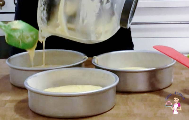 Divide the cake batter between three cake pans