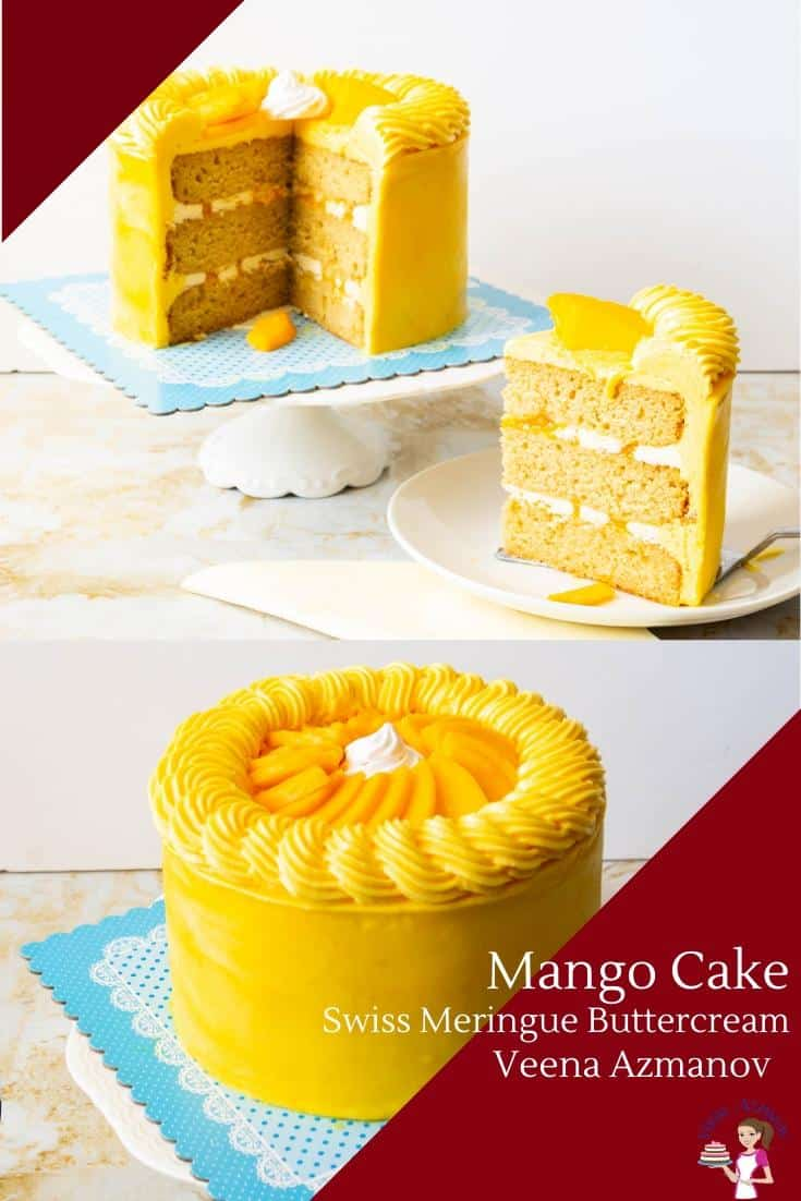 Give your next layer cake a seasoned flavor with this fresh mango cake. Made with moist layers of mango sponge filled with sweet mango puree, and frosted with mango Swiss meringue buttercream. Of course, topped with slices of fresh mangoes for that ultimate finish.  #mango #cake #layers #freshmangocake #bestmangocake #mango #cakerecipes via @Veenaazmanov
