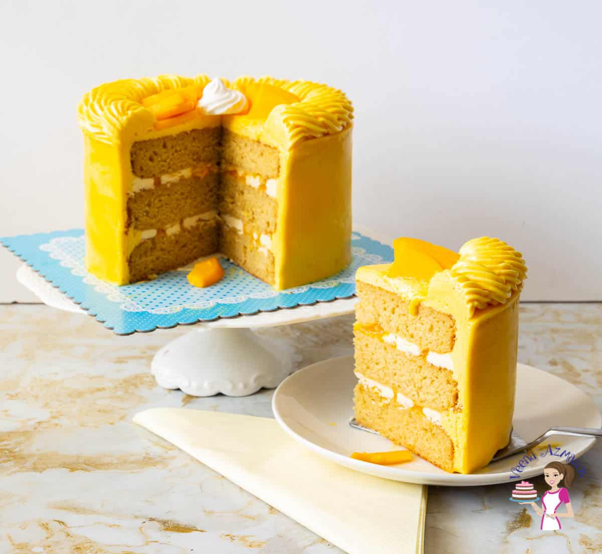 How to make a layer cake recipe with fresh mangoes