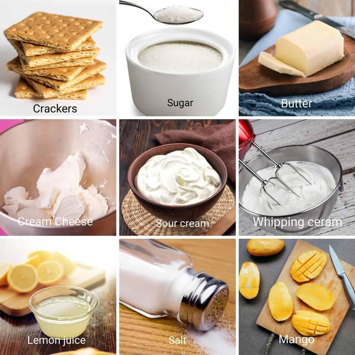 Ingredients shot collage for mango chesecake.