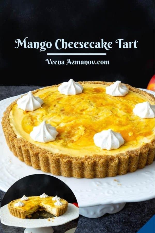 Pinterest image for cheesecake tart.