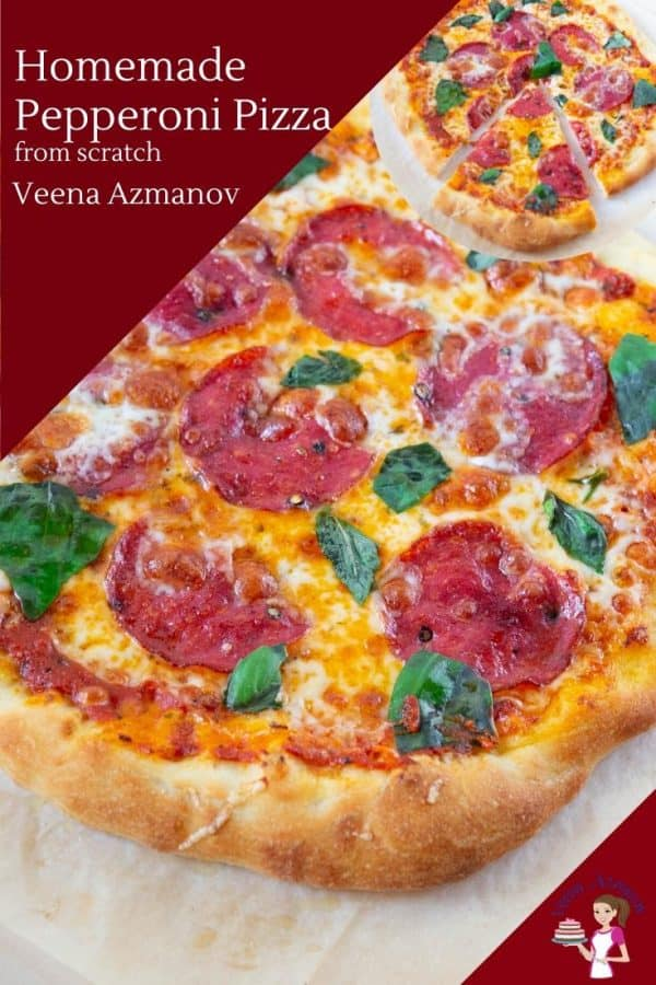 Easy homemade Pizza with pepperoni on the pizza peel