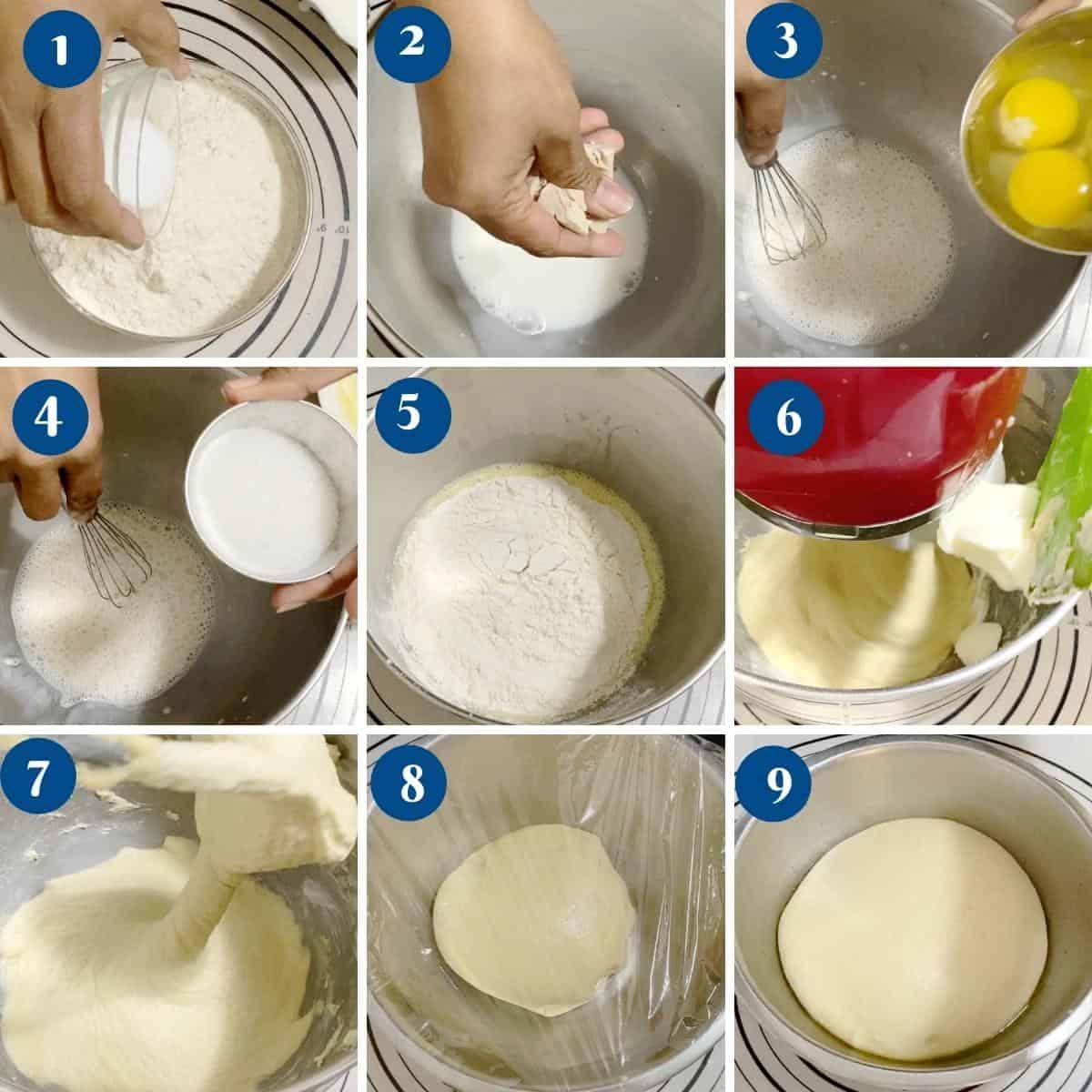 Progress pictures making the brioche dough.