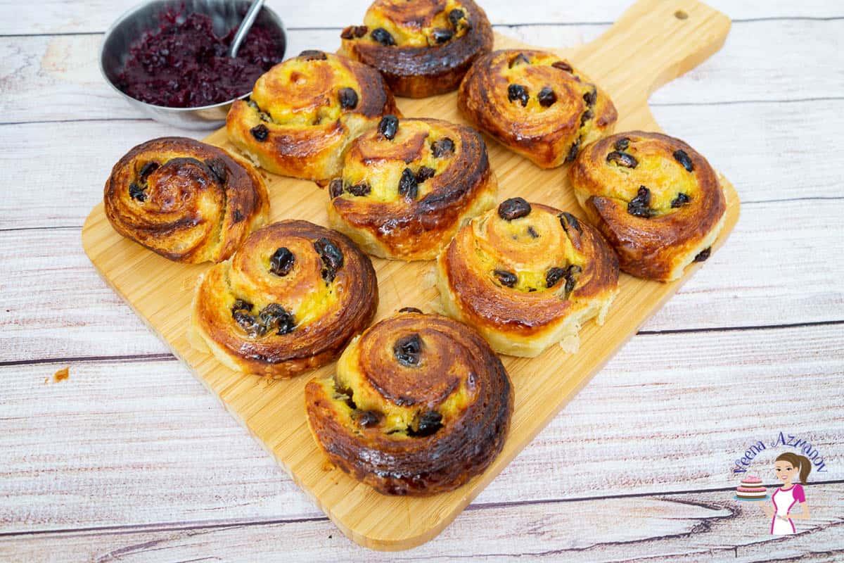 Homemade danish dough with rum raisins and pastry cream