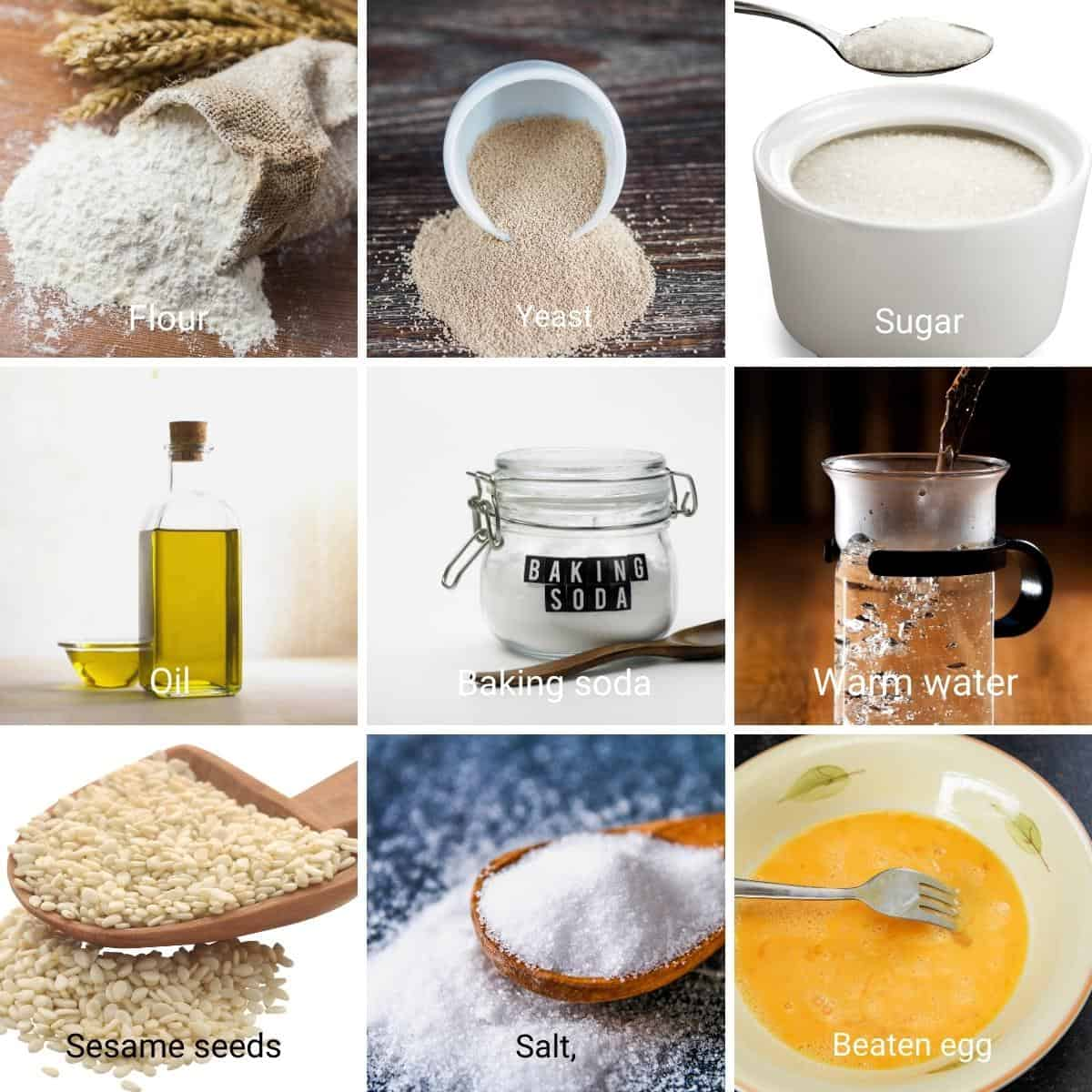 Ingredient shot collage for bagels.