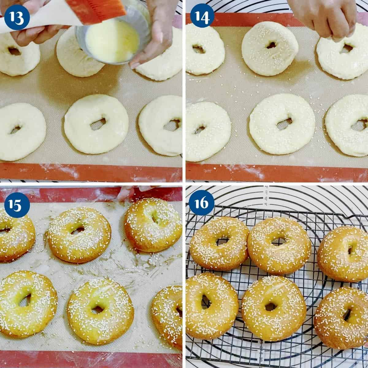 Progress pictures collage for sesame bagels.