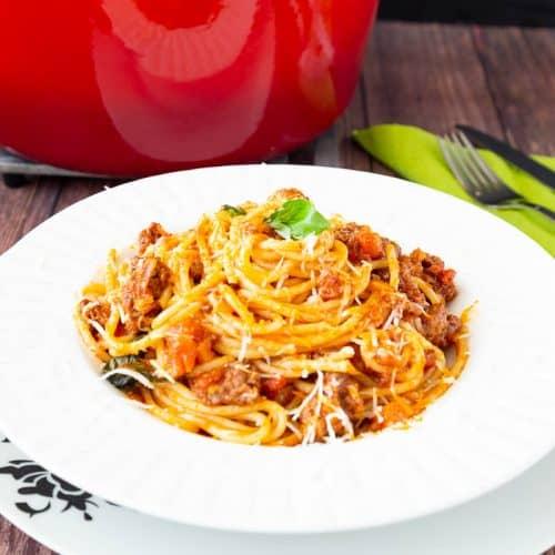 A plate of spaghetti Bolognese.