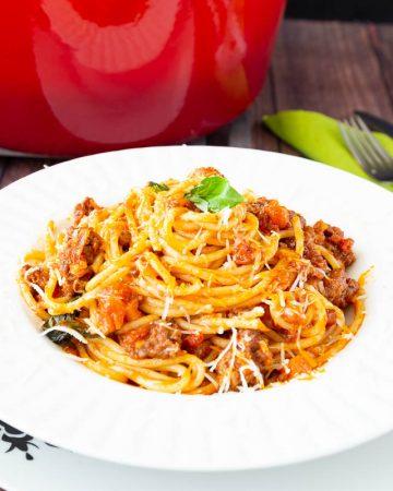 A plate of Spaghetti pasta.
