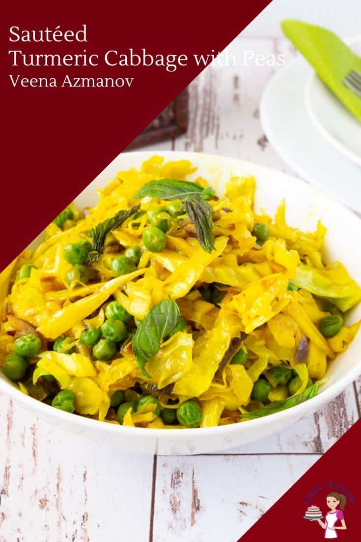 This turmeric cabbage is the perfect side to any main course. Sauteed with peas, garlic, and onions this gets done in less than 15 minutes #turmeric #cabbage #peas #sauteed #15mins #sidedish #cabbagerecipes  via @Veenaazmanov