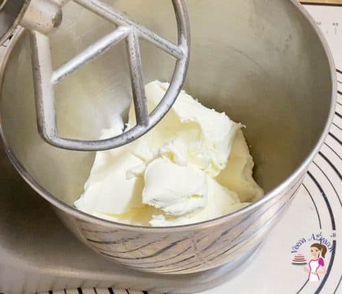 Combine the cream cheese for the cheesecake