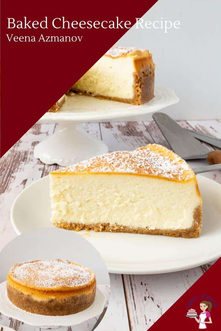 This cheesecake recipe is rich, creamy, and velvety smooth baked over a buttery graham cracker crust. Made with full-fat cream cheese, sour cream, and eggs this classic is baked in a water bath. #cheesecake #cheesecakerecipe #classic #baked #howtocheesecake #cheesecakerecipes #bakedcheesecake #nofailcheesecakes #easycheesecakes #cheesecakedesserts via @Veenaazmanov