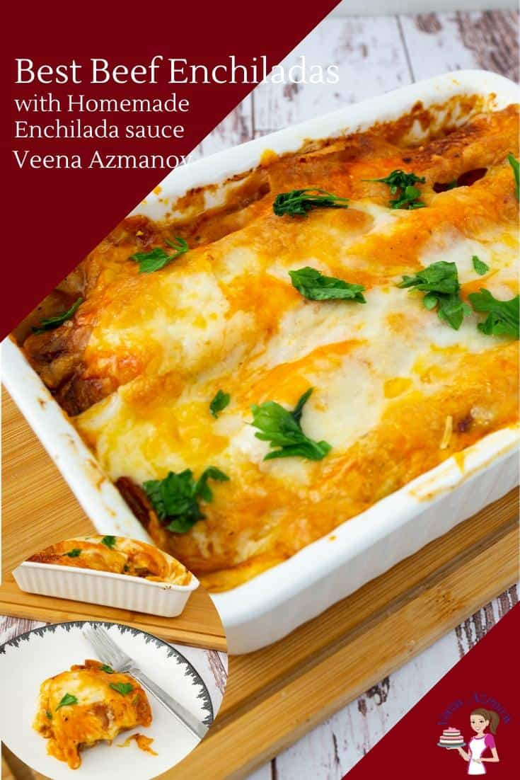 Cheesy beef enchiladas are one of my favorite Mexican foods. These are made with my homemade enchilada sauce. My trick to making this simple and easy is one sauce made from scratch in the beef and over the tortillas. This will be your next new favorite from me.  #enchiladas #beef #homemade #beefenchiladas #Mexicanenchiladas #Mexicanfood  via @Veenaazmanov