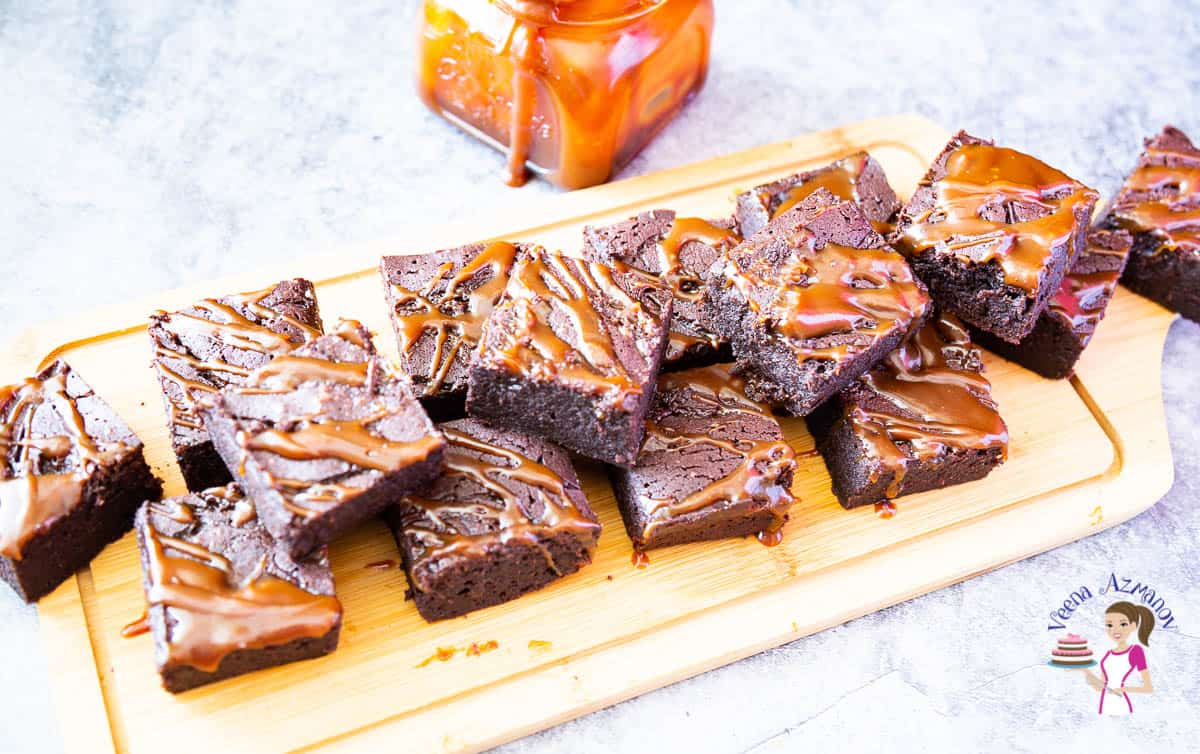 Easy homemade brownies with homemade caramel sauce