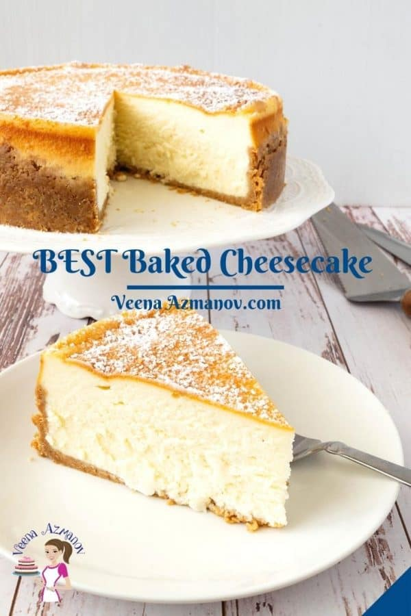 Pinterest image for baked vanilla cheesecake.