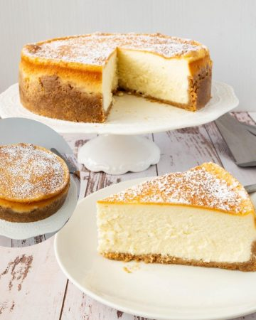 Sliced baked cheesecake on a cake stand and plate.