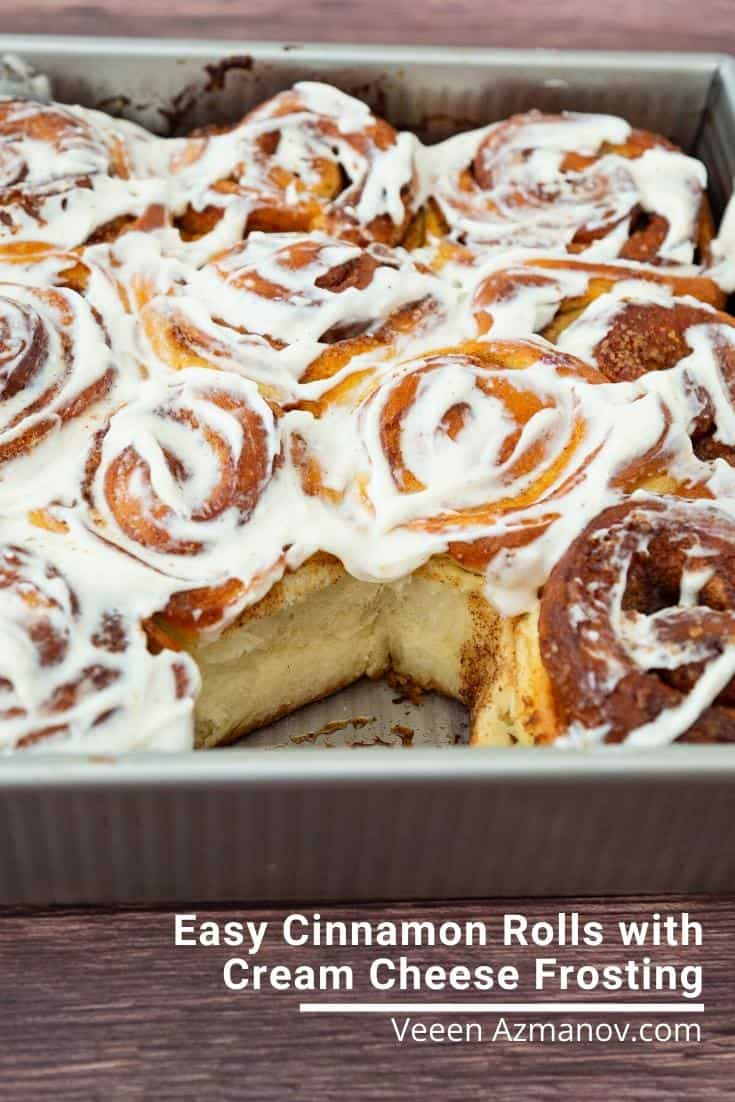 This cinnamon rolls recipe is my absolute favorite. Frosted with cream cheese frosting these make the best treats any time of the year. This is my basic recipe with lots of options to customize #cinnamonrolls #cinnamonbread #baking #breadwithcinnamon #easycinnamonrolls  via @Veenaazmanov