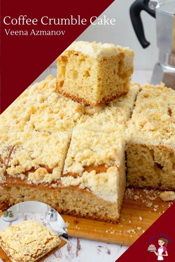 Coffee cake squares on a wooden board.