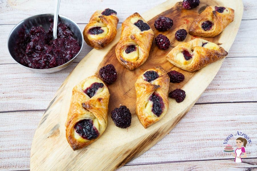 How to make Danish Pastries from Scratch - these are Danish Cylinders with cream cheese and jam