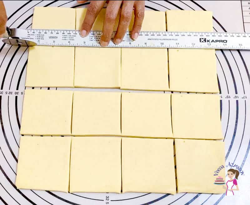 Cut the danish pastry into dough into 16 squares