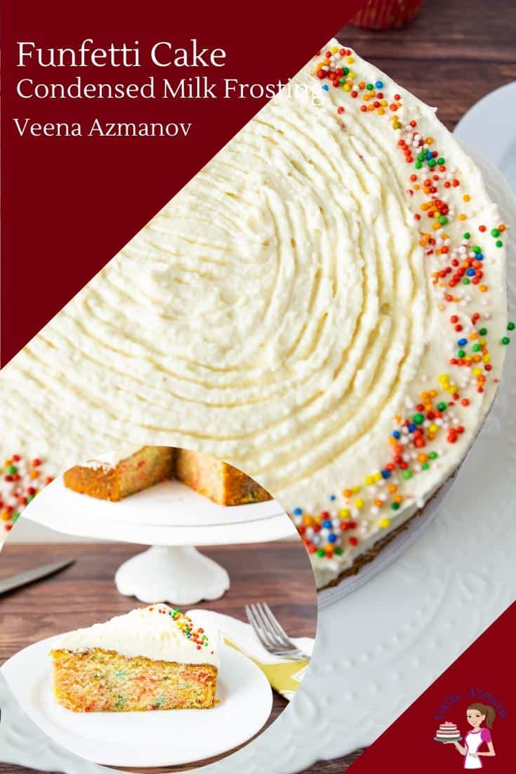 This funfetti cake is my light and airy vanilla cake with bright and cheerful sprinkles in the batter. Frosted with sweetened condensed milk frosting this is a fun cake to serve kids or adults. #funfetticakes #funfetti #cake #cakerecipes #kidscakes #coffeecakes #coffeecake #sprinklecakes #cakeswithsprinkles #rainbowsprinkles  via @Veenaazmanov