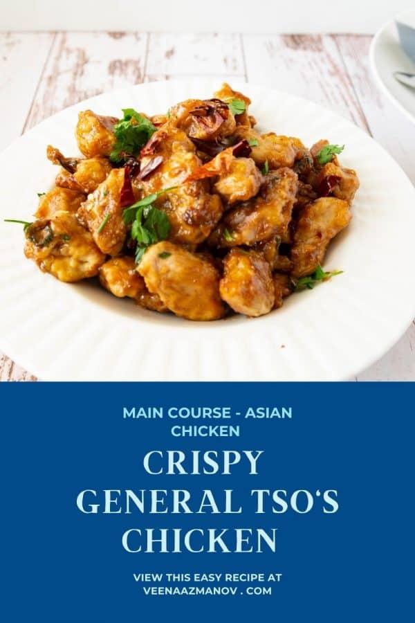 Pinterest image for Tso's Chicken.