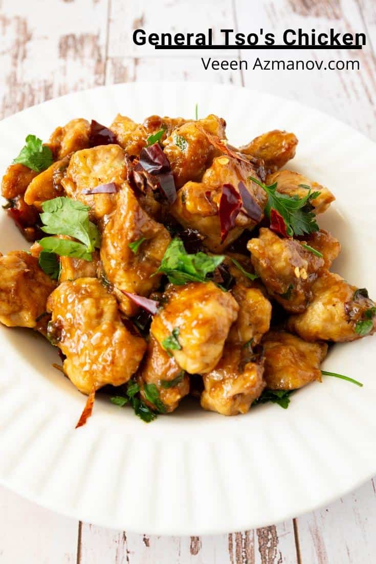 A plate of General Tso chicken.