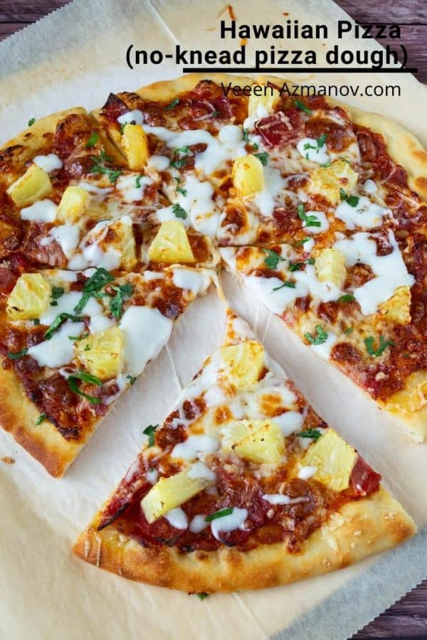 How to make a classic Hawaiian Homemade Pizza dough with Pineapple and Ham