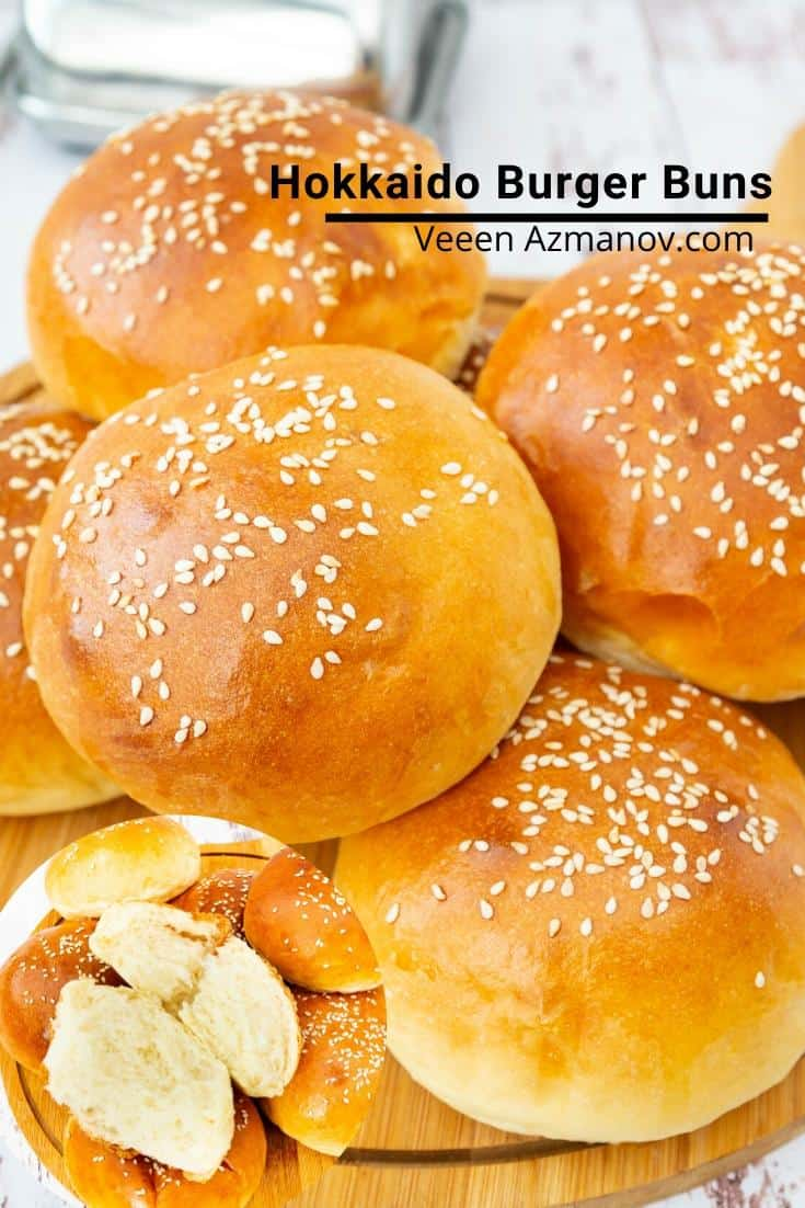 The Japanese milk bread also known as Hokkaido milk bread makes the softest homemade burger buns you will ever have. Slightly sweet, and milky but soft like cotton these are simple and easy to make #japanesemilkbread  #burgerbuns #hokkaido #burgerbunsrecipe #softburgerbuns #hokkaidomilkbread #hokkaido #burgerbunbread via @Veenaazmanov
