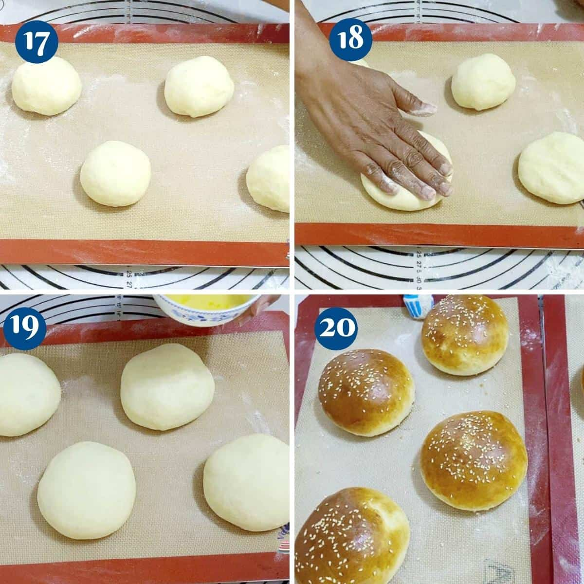 Progress pictures collage shaping the hamburger buns.