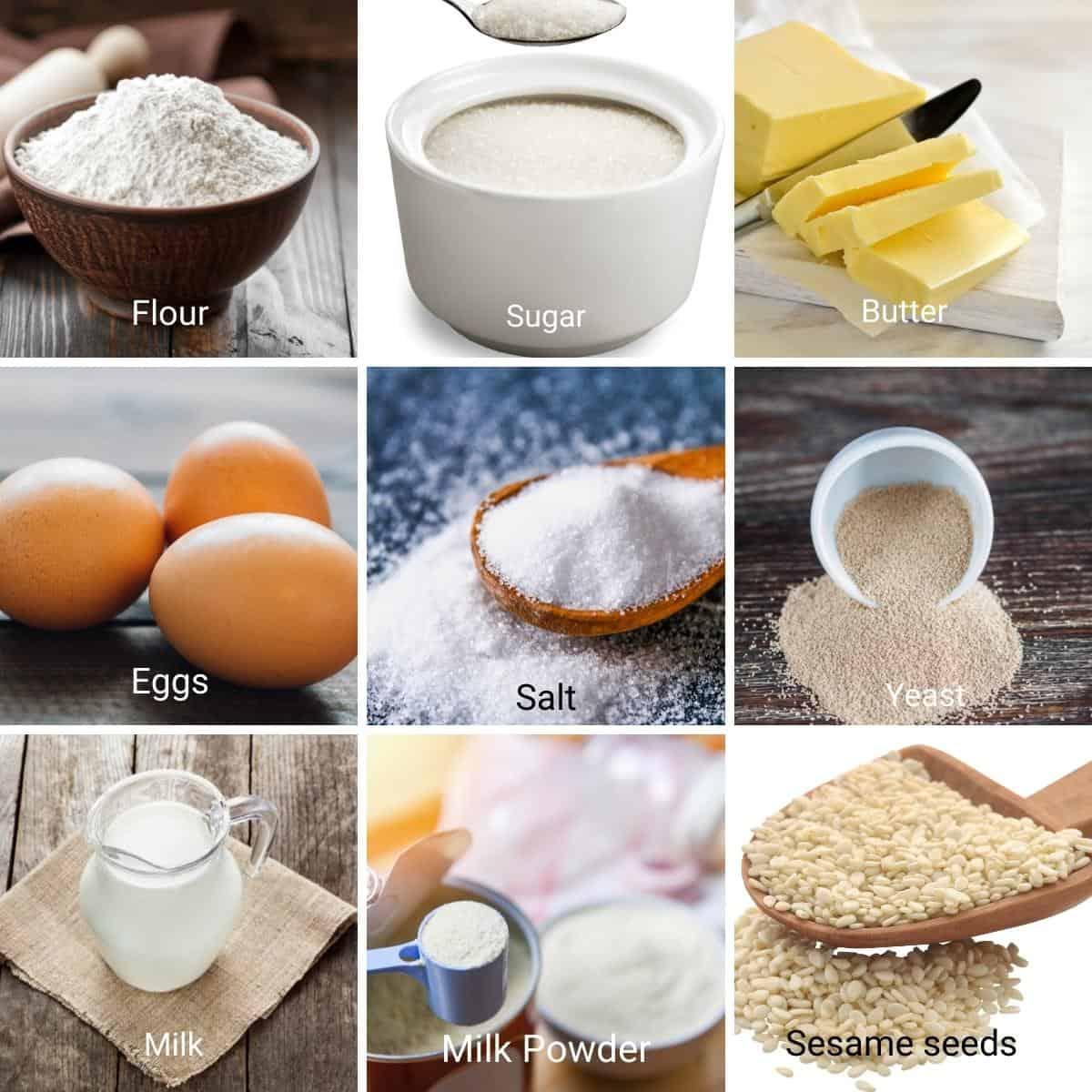 Ingredients shot collage for Hokkaido Hamburger Buns.