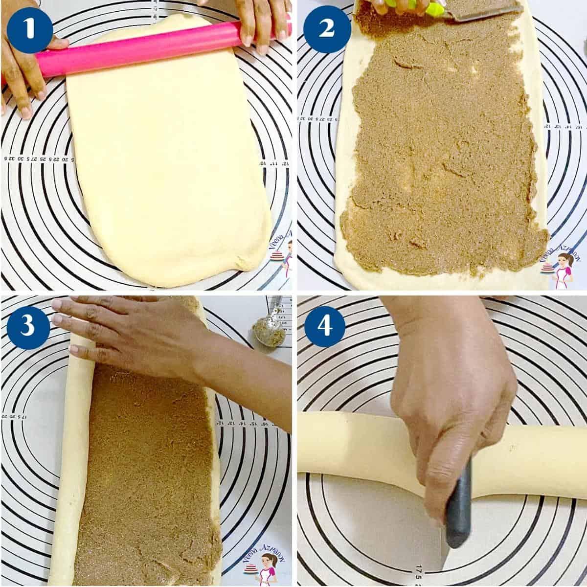 Progress pictures spreading the cinnamon sugar on the dough.