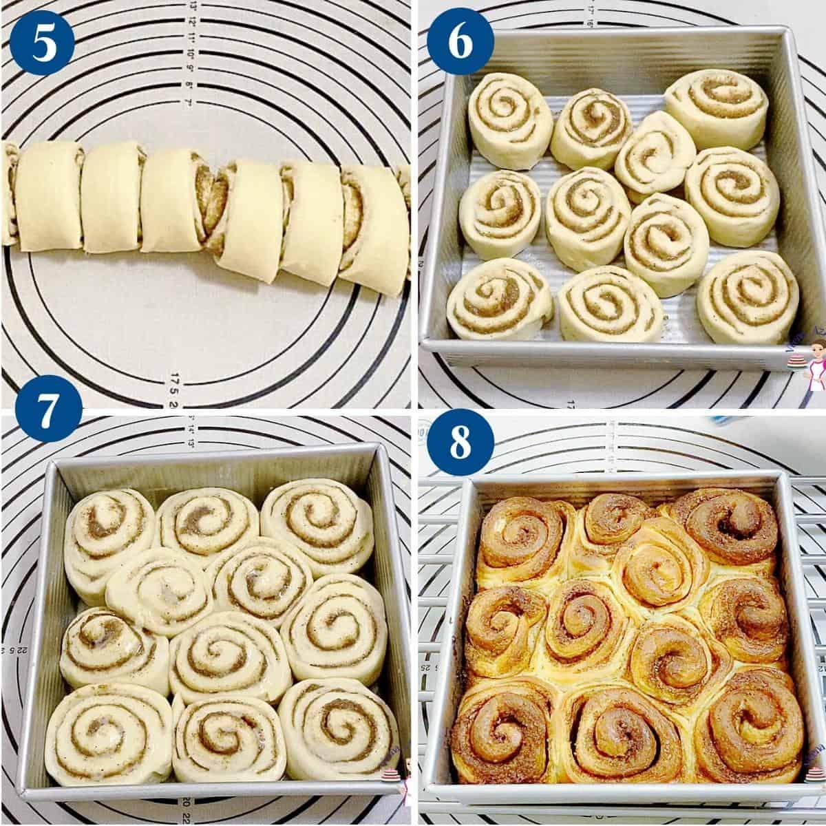 Progress pictures baking the cinnamon bread rolls.