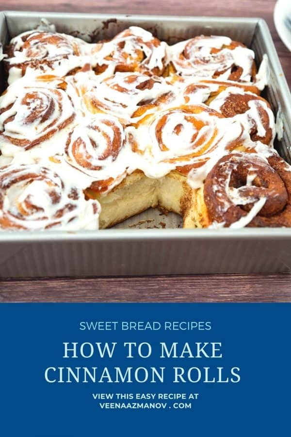 Pinterest image for cinnamon rolls with cream cheese.